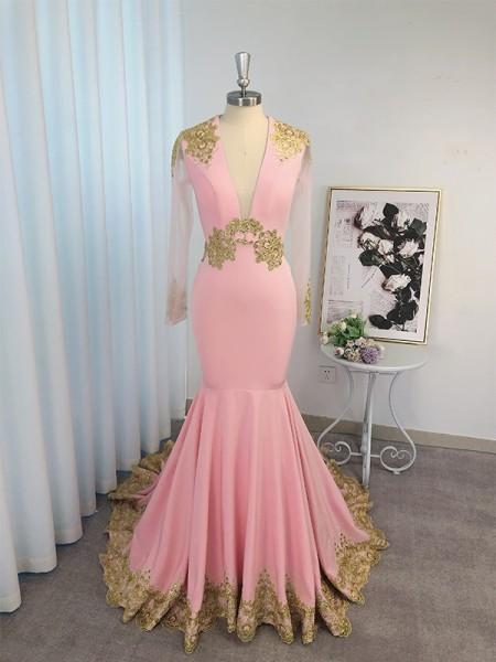 Trumpet/Mermaid Silk like Satin Applique Long Sleeves V-neck Sweep/Brush Train Dresses