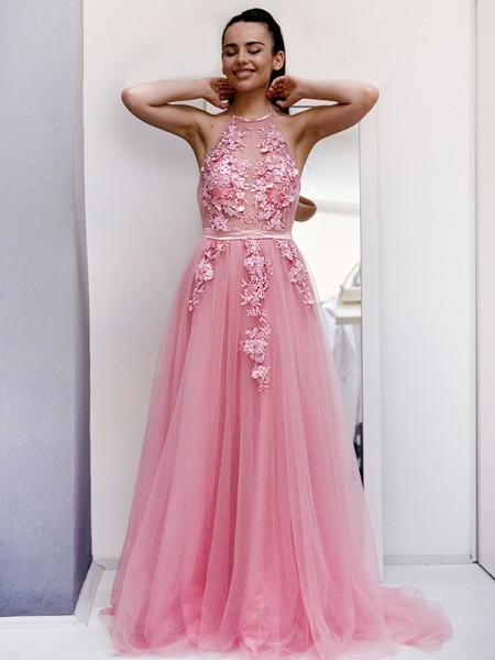 A-Line/Princess Tulle Applique Halter Sleeveless Sweep/Brush Train Dresses