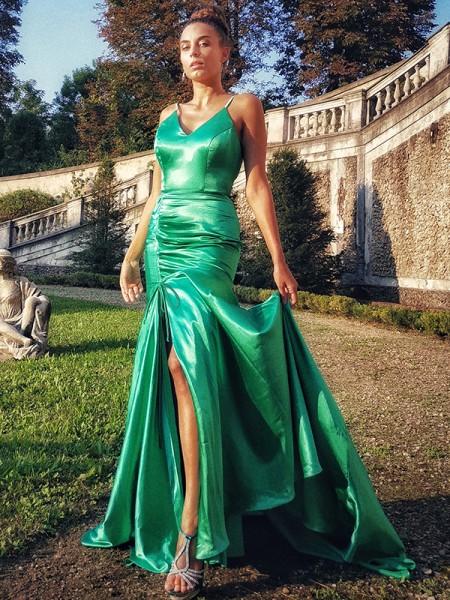 Trumpet/Mermaid Satin Ruffles Spaghetti Straps Sleeveless Sweep/Brush Train Dresses