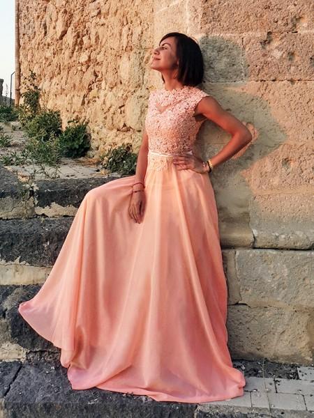 A-Line/Princess Applique Scoop Chiffon Sleeveless Floor-Length Dresses