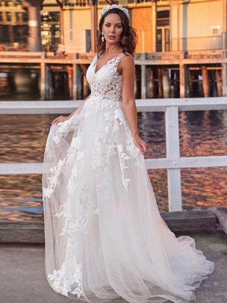 A-Line/Princess Tulle Sleeveless Applique V-neck Sweep/Brush Train Wedding Dresses