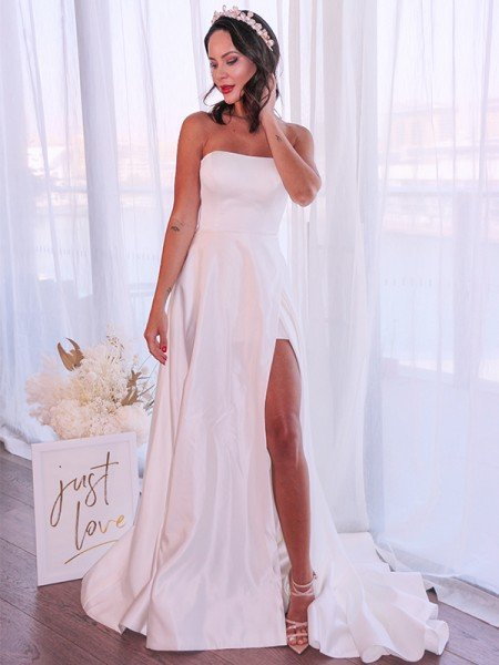A-Line/Princess Satin Ruffles Strapless Sleeveless Sweep/Brush Train Wedding Dresses