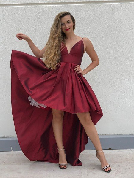 A-Line/Princess Spaghetti Straps Taffeta Ruffles Sleeveless Asymmetrical Homecoming Dresses