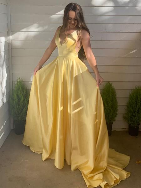 A-Line/Princess Satin V-neck Sleeveless Ruffles Sweep/Brush Train Dresses