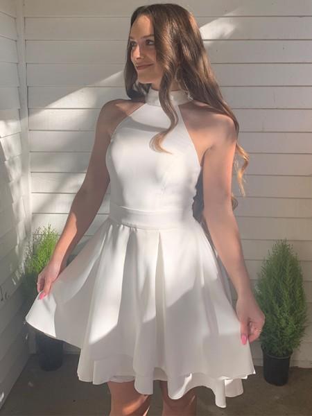 A-Line/Princess Satin Ruffles Halter Sleeveless Short/Mini Homecoming Dresses