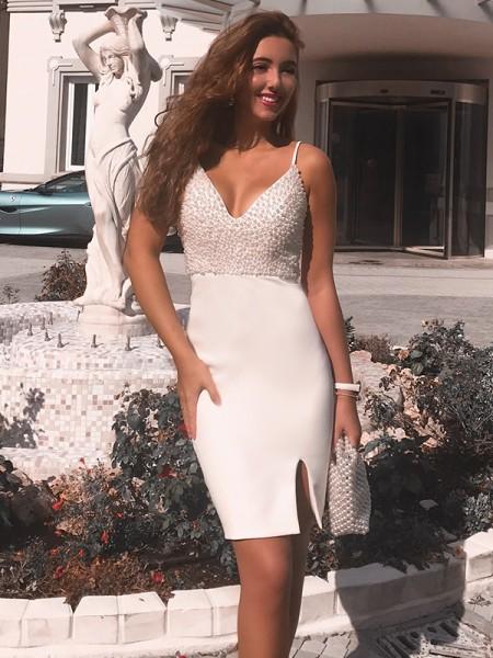 Sheath/Column Spaghetti Straps Beading Sleeveless Satin Knee-Length Dresses