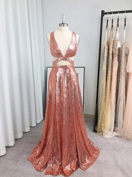 A-Line/Princess Sequins Sleeveless Ruffles V-neck Floor-Length Dresses