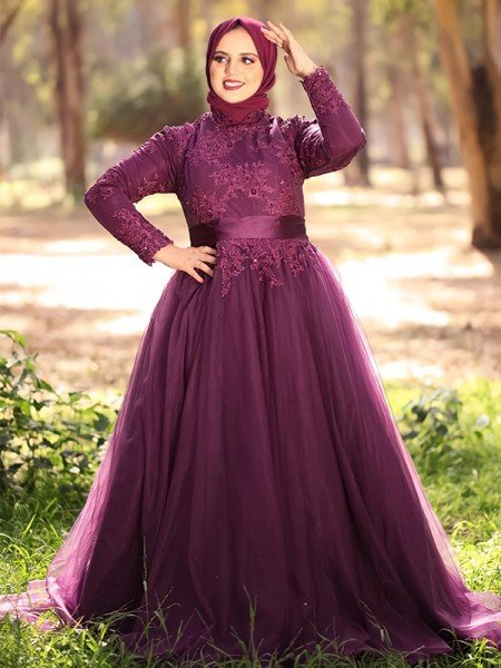 Ball Gown High Neck Tulle Applique Long Sleeves Sweep/Brush Train Muslim Dresses