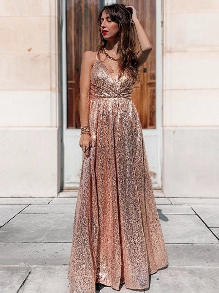 A-Line/Princess Sequins Spaghetti Straps Sleeveless Ruched Floor-Length Dresses