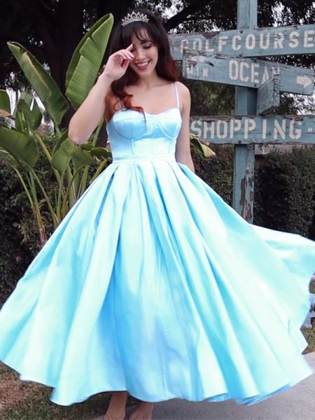 Ball Gown Spaghetti Straps Sleeveless Satin Ruffles Tea-Length Homecoming Dresses
