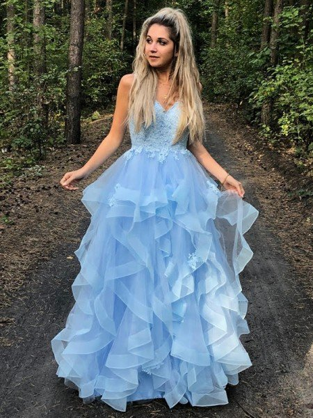 A-Line/Princess Spaghetti Straps Sleeveless Applique Organza Floor-Length Dresses