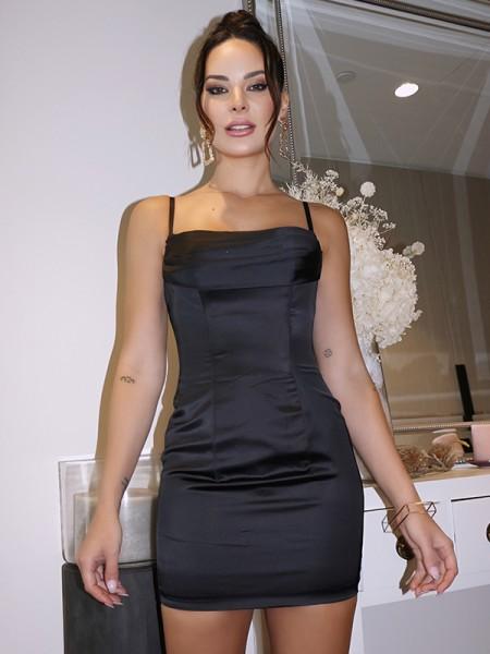 Sheath/Column Satin Sleeveless Spaghetti Straps Ruched Short/Mini Homecoming Dresses