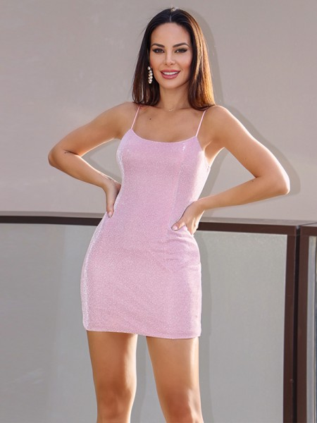 Sheath/Column Spaghetti Straps Sequins Sleeveless Short/Mini Homecoming Dresses