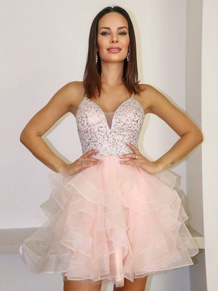 A-Line/Princess Spaghetti Straps Organza Beading Sleeveless Short/Mini Homecoming Dresses