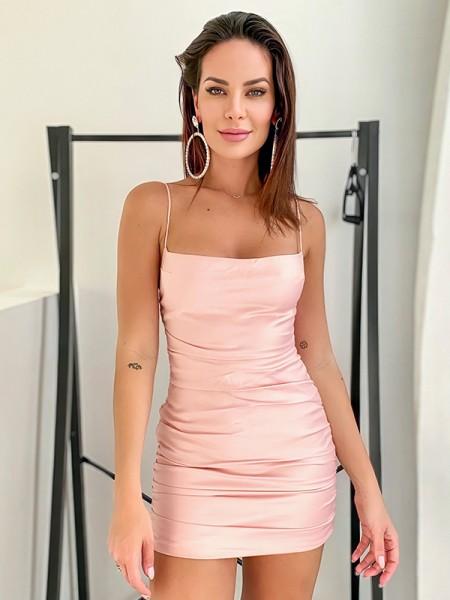 Sheath/Column Satin Ruched Spaghetti Straps Sleeveless Short/Mini Homecoming Dresses