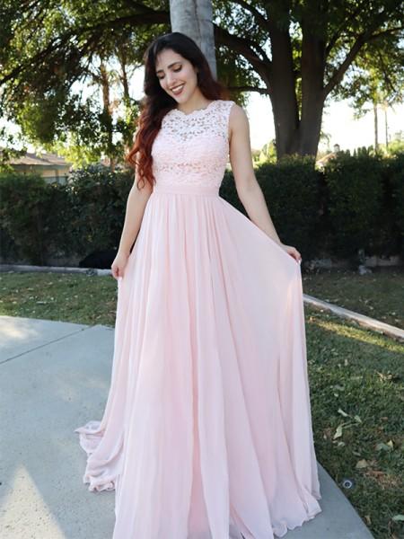 A-Line/Princess Sleeveless Scoop Chiffon Applique Floor-Length Dresses