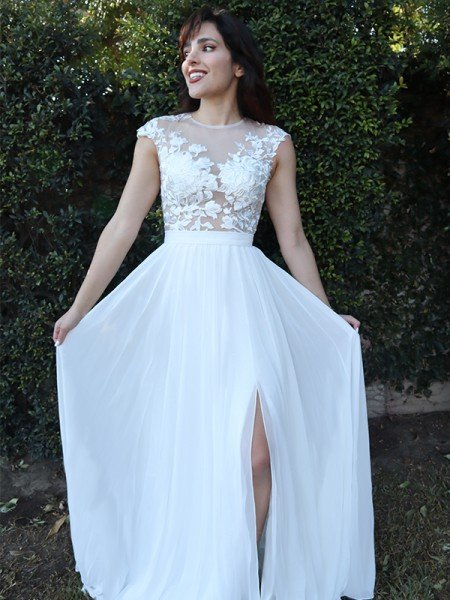 A-Line/Princess Short Sleeves Applique Scoop Chiffon Sweep/Brush Train Dresses
