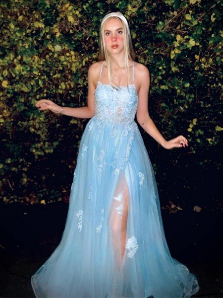 A-Line/Princess Tulle Applique Spaghetti Straps Sleeveless Sweep/Brush Train Dresses