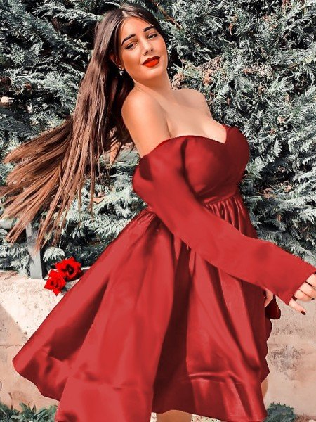A-Line/Princess Satin V-neck Ruffles Long Sleeves Short/Mini Homecoming Dresses