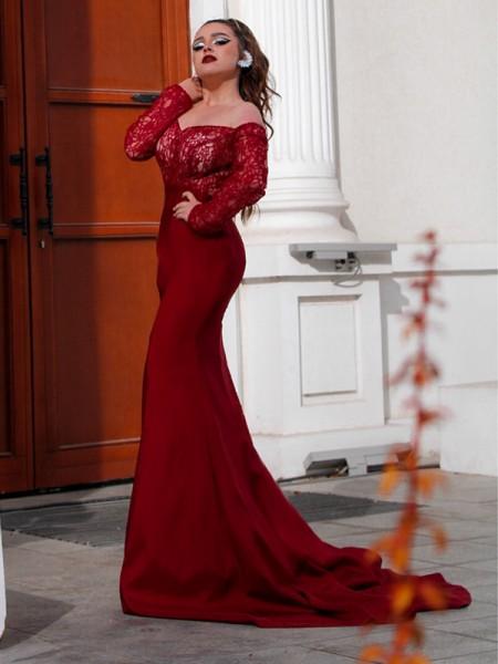 Trumpet/Mermaid Elastic Woven Satin Applique Off-the-Shoulder Long Sleeves Sweep/Brush Train Dresses