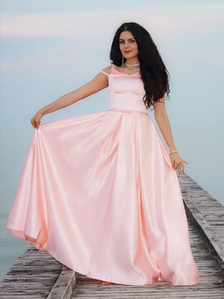 A-Line/Princess Satin Off-the-Shoulder Sleeveless Ruffles Floor-Length Dresses