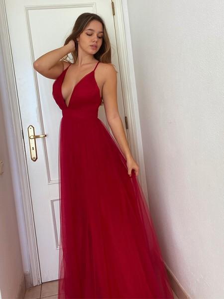 A-Line/Princess Tulle Sleeveless Ruffles V-neck Floor-Length Dresses