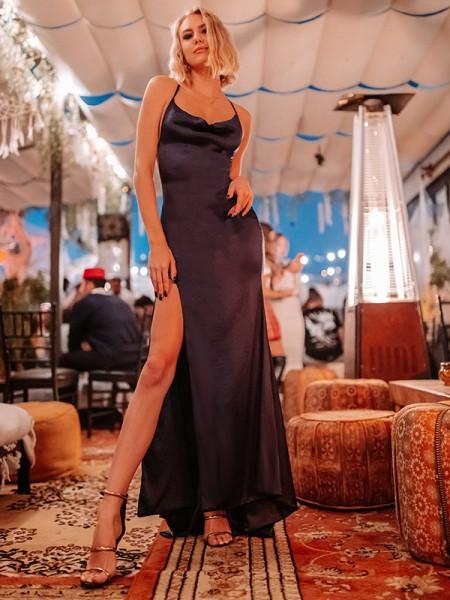 Sheath/Column Silk like Satin Halter Sleeveless Floor-Length Dresses