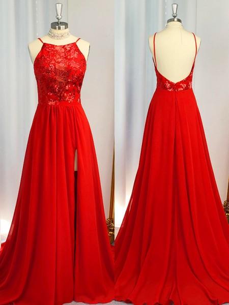 A-Line/Princess Halter Chiffon Sleeveless Applique Sweep/Brush Train Dresses