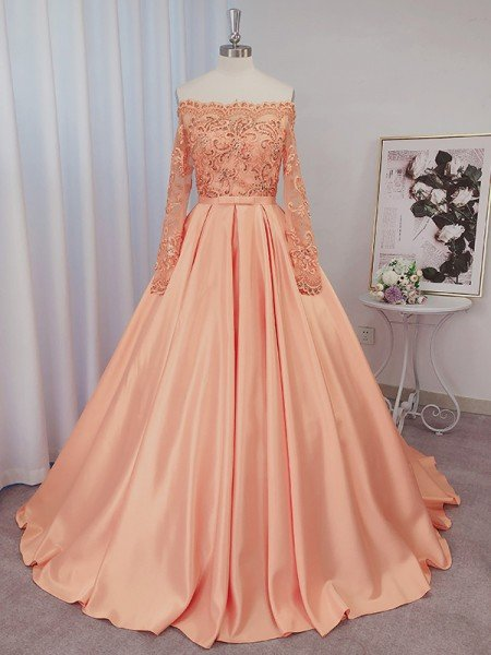 Ball Gown Satin Long Sleeves Beading Off-the-Shoulder Court Train Dresses