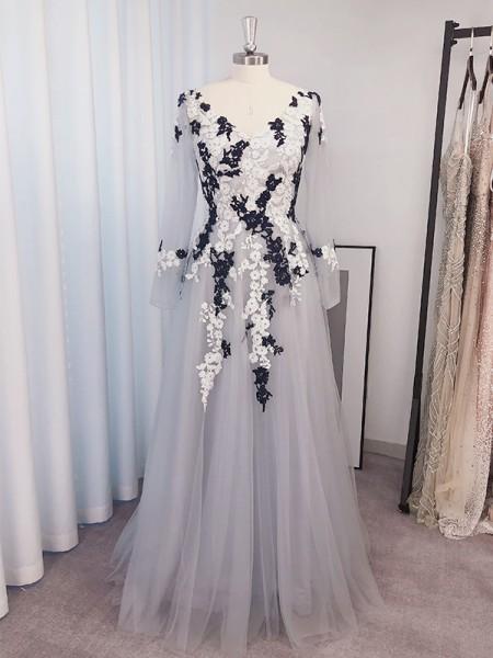 A-Line/Princess Tulle Applique V-neck Long Sleeves Floor-Length Dresses
