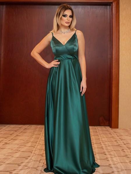 A-Line/Princess Ruffles V-neck Sleeveless Satin Floor-Length Dresses