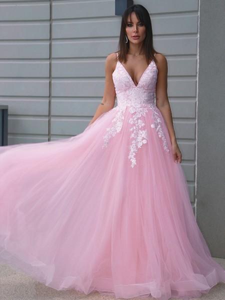 A-Line/Princess Tulle V-neck Applique Sleeveless Floor-Length Dresses