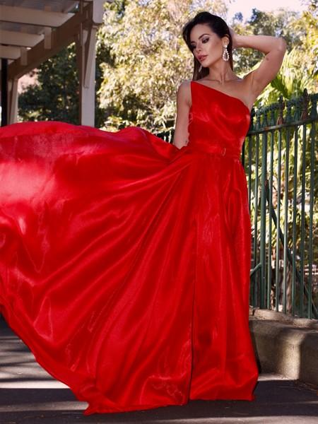 A-Line/Princess Strapless Ruffles Sleeveless Sweep/Brush Train Dresses