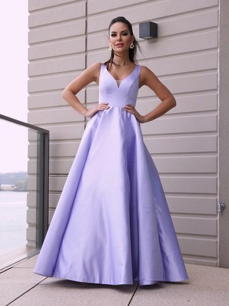 A-Line/Princess Satin Ruffles V-neck Sleeveless Floor-Length Dresses