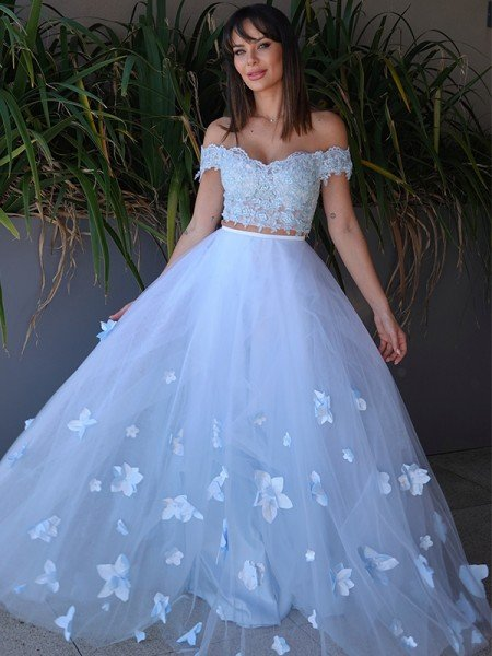 A-Line/Princess Tulle Applique Sleeveless Off-the-Shoulder Floor-Length Two Piece Dresses