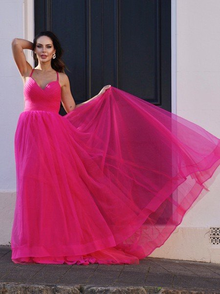 A-Line/Princess Tulle V-neck Ruched Sleeveless Sweep/Brush Train Dresses