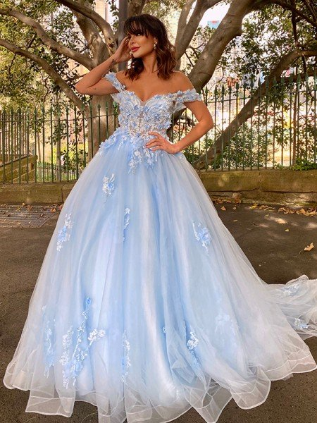Ball Gown Tulle Applique Off-the-Shoulder Sleeveless Sweep/Brush Train Dresses