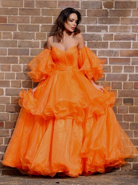 A-Line/Princess Organza Off-the-Shoulder Layers Long Sleeves Floor-Length Dresses