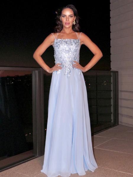 A-Line/Princess Chiffon Applique Square Sleeveless Floor-Length Dresses