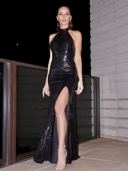 Sheath/Column Halter Sleeveless Sequins Sweep/Brush Train Dresses