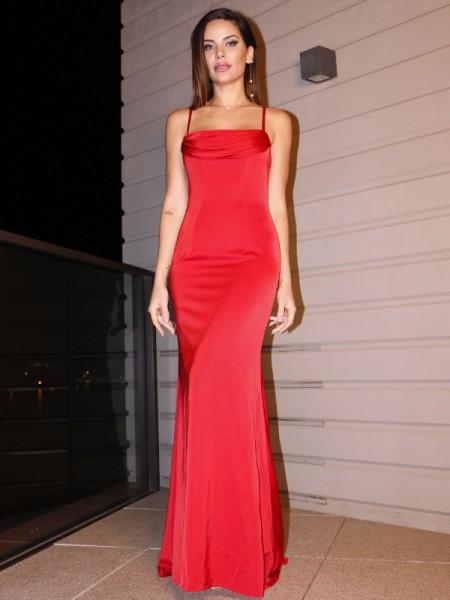 Sheath/Column Ruched Sleeveless Spaghetti Straps Stretch Crepe Floor-Length Dresses
