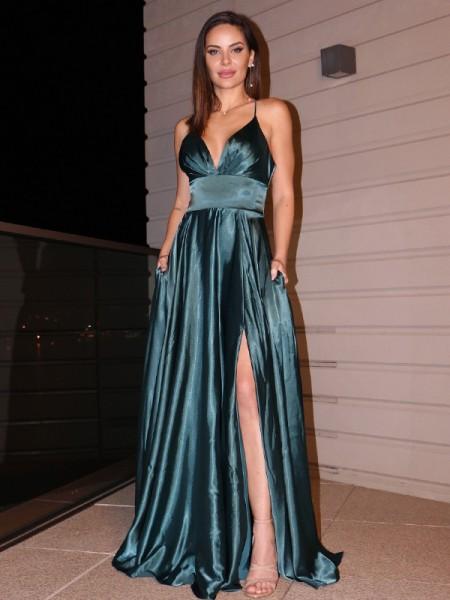 A-Line/Princess Silk like Satin V-neck Ruffles Sleeveless Floor-Length Dresses
