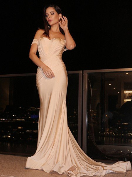 Trumpet/Mermaid Jersey Ruched Sleeveless Off-the-Shoulder Sweep/Brush Train Dresses