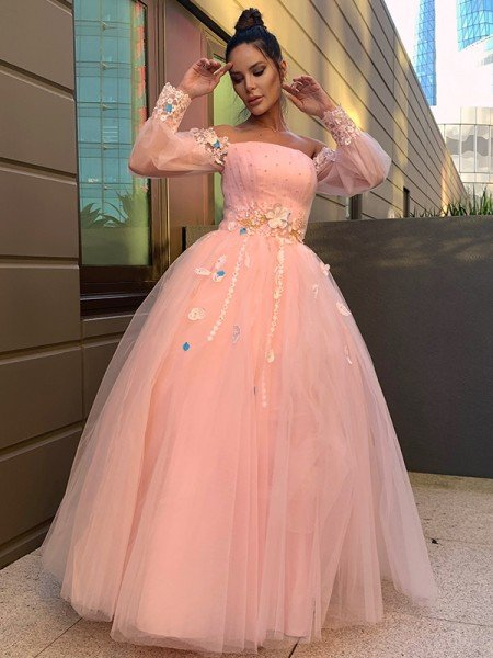 Ball Gown Hand-Made Flower Tulle Long Sleeves Off-the-Shoulder Floor-Length Dresses