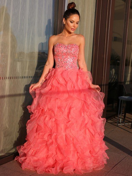 Ball Gown Organza Sweetheart Beading Sleeveless Floor-Length Dresses