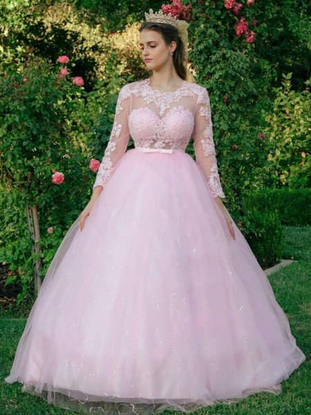 Ball Gown Tulle Scoop Lace Long Sleeves Sweep/Brush Train Dresses