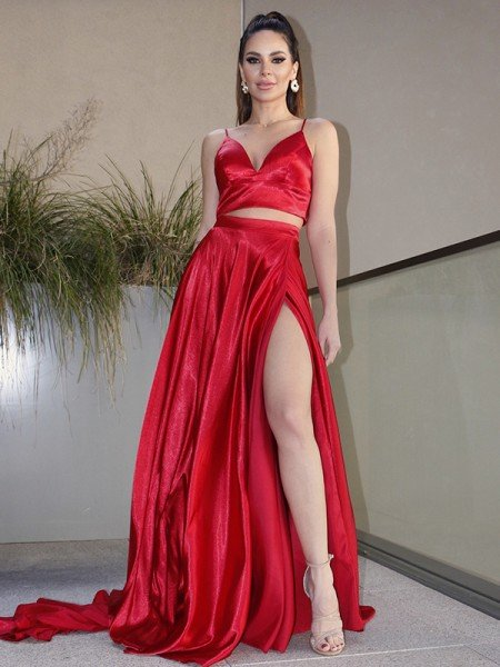 A-Line/Princess Elastic Woven Satin Ruffles V-neck Sleeveless Sweep/Brush Train Two Piece Dresses