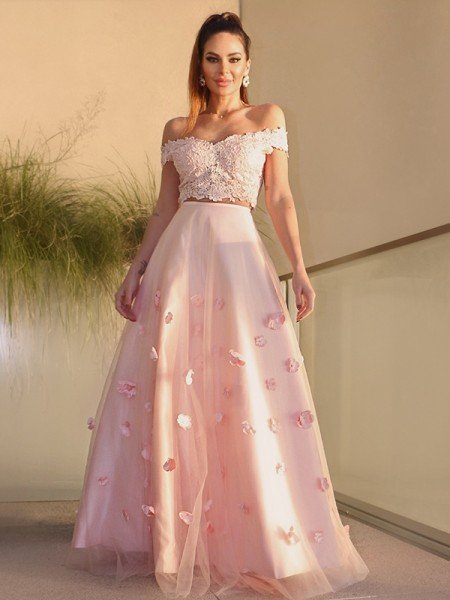A-Line/Princess Tulle Hand-Made Flower Off-the-Shoulder Sleeveless Floor-Length Two Piece Dresses
