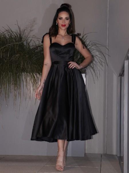 A-Line/Princess Satin Ruffles Straps Sleeveless Tea-Length Homecoming Dresses