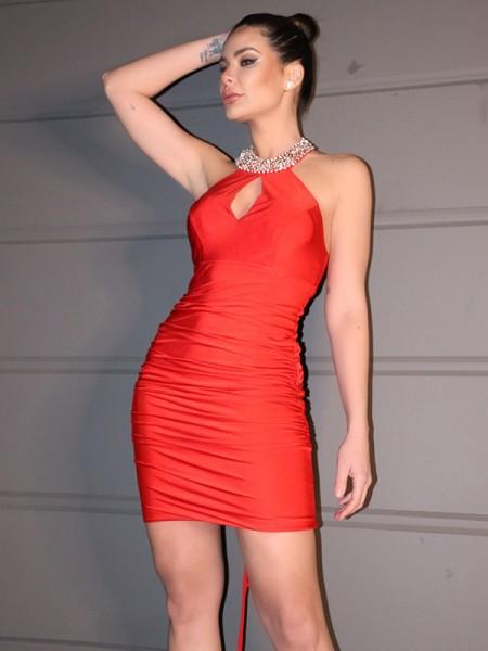 Sheath/Column Jersey Ruched Halter Sleeveless Short/Mini Homecoming Dresses